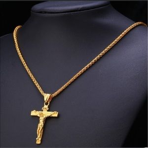 Other - New 18K Gold Cross Necklace